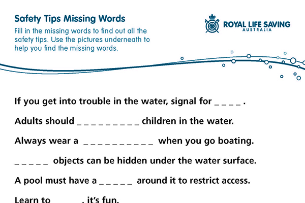 Safety Tips Missing Words