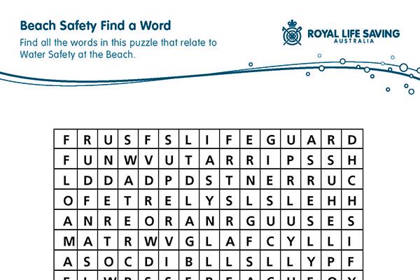 Beach Safety Find a Word