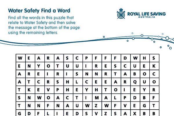 Water Safety Find a Word