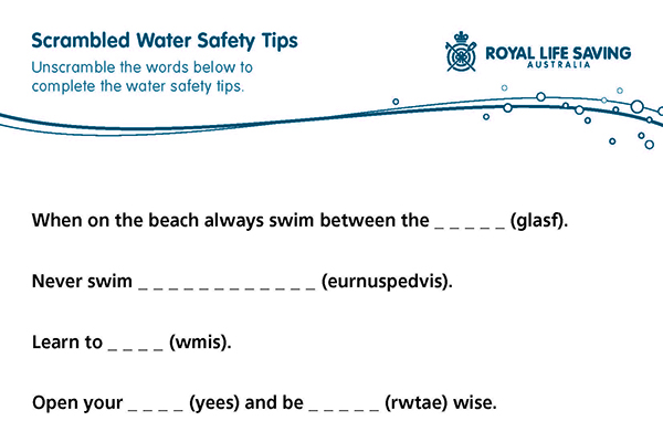 Scrambled Water Safety Tips