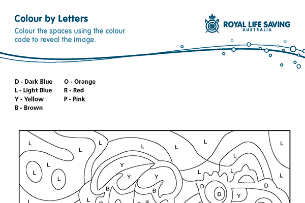 Colour by Letters. Water Safety.