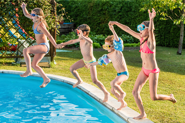 Children's pool party and water safety